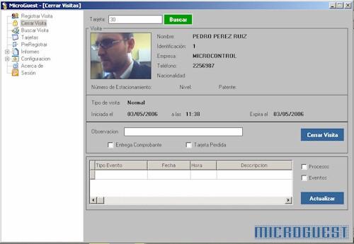 MicroGuest Pantalla para registrar la salida del visitante