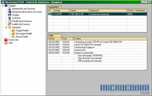 MicroComm Programa de configuración, descarga y gestión de la información